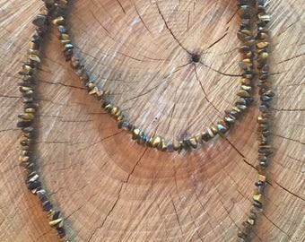 Tigers eye chip beaded necklace