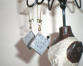 Granite and bronze diamond earrings