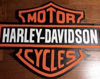 Decorative wood and faux leather Harley Davidson