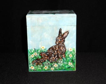 Piggy bank painted rabbits kids
