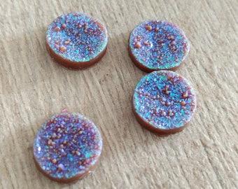 2 cabochon purple stone 12 mm color effect
