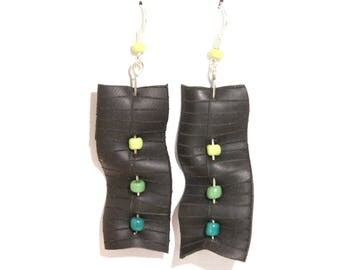 Recycled bike tube, green dots earrings