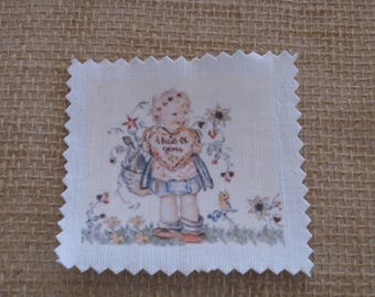 Image transfer, a sewing basket, heart girl, flowers, spring