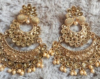 Indian Jhumka Earrings, Ethnic Earrings, Bollywood Jhumka,Indian Jewelry, Chandbali Jhumka,Kundan Earrings, Ethnic Jhumki, Polki Jewelry USA