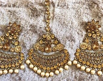 Jhumka Earrings,Indian Jewelry, Antique Gold Jhumka,Earring Tikka Set,Jhumka Beautiful Kundan Polki Jewelry Jhumki Chandbali Bollywood USA