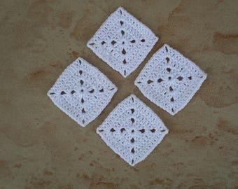 set of 4 square / white grannys crochet