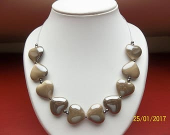 Heart shape brown pearl necklace