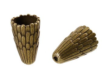 Set of 2 bronze beads 12mm - SC0085568 - magnificent bead caps Cones