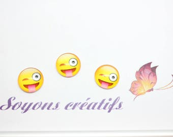 Lot 20 SC79927 pattern Emoji tongue to stick - 12mm glass Cabochons