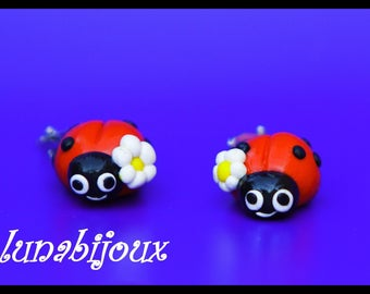earring clips polymer clay Ladybug child