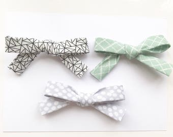 Set of 3 geometric print bows