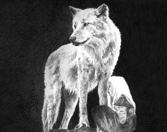 Disegno a matita lupo etsy for Lupo disegno a matita