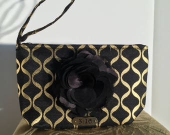 Black and Gold Evening Clutch-#1042