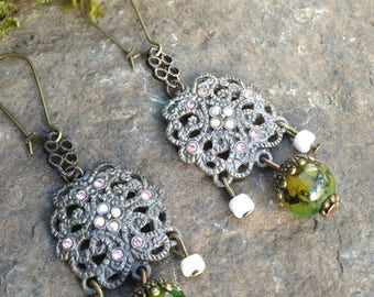 renaissance style earrings silver crystals