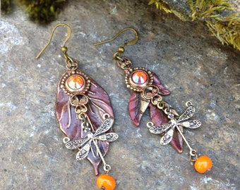 Earrings dissociated fairy antique patinated nature