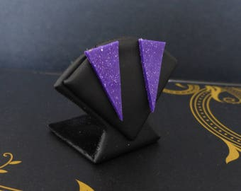 Glittery purple triangle - graphic Collection Stud Earrings