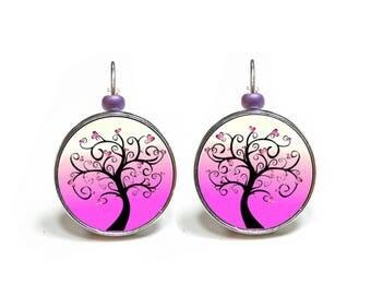 Boucles d'oreilles roses arbre à coeurs