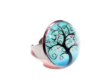 Tree of life turquoise ring