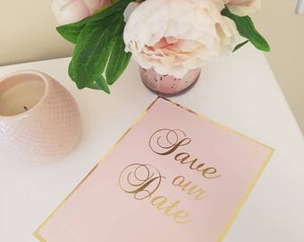 Pink and gold save our date cards