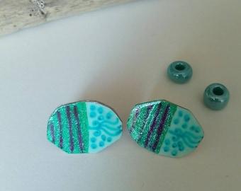 paper earrings in shades of green/earrings