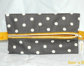 Grey case with white polka dots and yellow