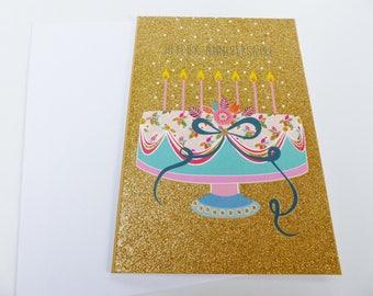 happy birthday cake gold glitter birthday