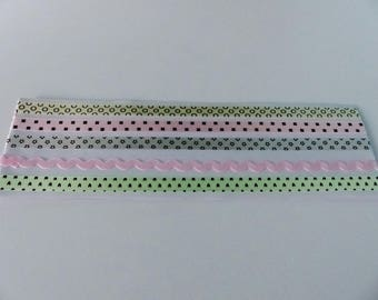 5 ribbons decals of pink and beige stripes