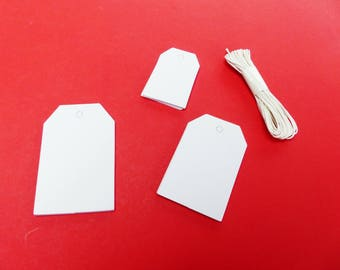 30 tags blank geometric white 3 sizes 3 m cord labels
