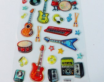 battery keyboard wand keyboard stickers 3D guitar musical instrument stickers