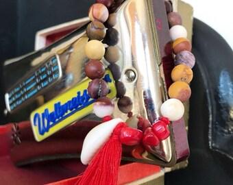 "Bracelet stones ""Flamenco"" shell sea bamboo semi-precious mookaite"