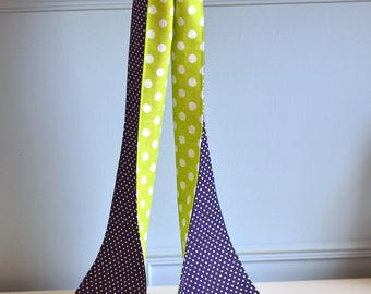 foulard de printemps vintage marine et vert à pois