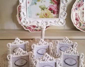 Shabby Chic Frame and 12 mini place card name holder Wedding Baby Shower Bridal Shower Vintage