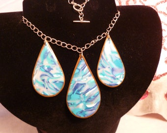 Polymer clay necklace drops blue