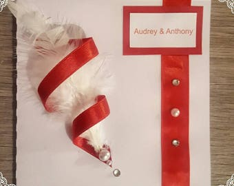 White and red wedding invitation