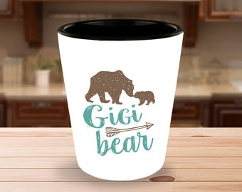 Gigi Bear Shot Glass  - 1.5 oz Ceramic Shotglass - Gift for Grandma, Great Grandmother