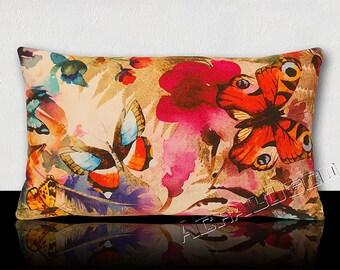 Design pillow Bohemian Coachella big butterflies/flowers and colorful leaves.