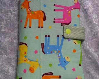 Protects health record giraffes pink green with giraffes, blue and green