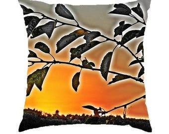 "Decorative Pillow made from a photograph of sunset ""Orange Sun"" 40x40cm"