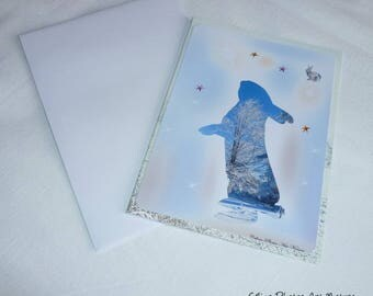 """Winter Bunny"" handmade double card 10.5x15cm from photographs of winter"