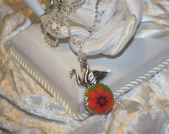 Swan and flower cabochon silver plated chain