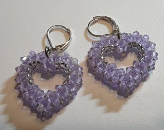 ROCK CANDY HEARTS - crystal open heart earrings