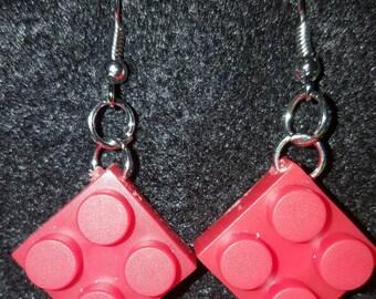 Red 4x4 Building Block Earrings on Fishhooks