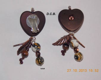 EARRINGS HAVE CLIP CHOCOLATE HEART.