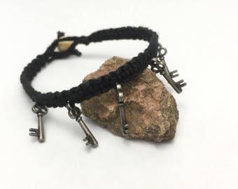 Macrame Hemp Bracelet with Key Charms