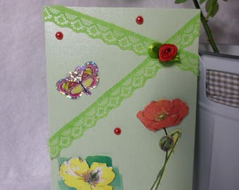Card any occasion, green, flowers and Butterfly