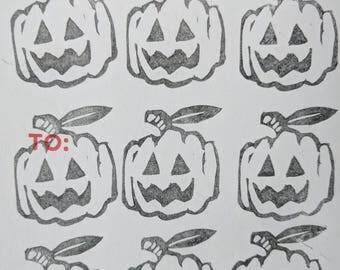 Linocut Jack 'O' Lantern sticker (1of1)
