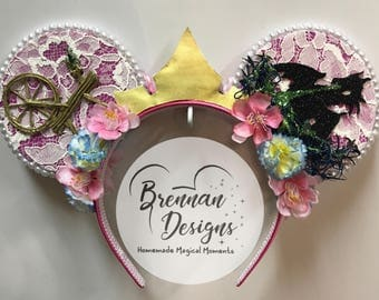 Sleeping Beauty Inspired Mouse Ears with Dragon and Spinning Wheel Details and Princess Aurora Crown