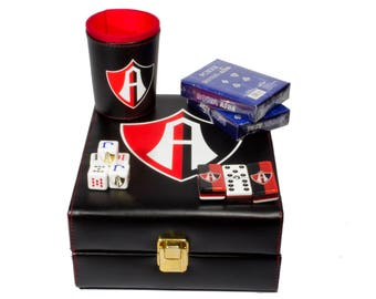 Club Atlas Deluxe Set 3 Games: Dominó, Dice Cup, 2 Poker Cards