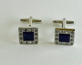 Majestic Blue Rhinestone Cuff Links