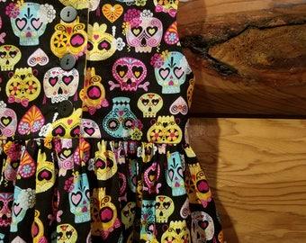 Little Girl Dress - Size 3T - 100% Cotton - Sugar Skulls - Day of the Dead - Dia de los Muertos - Ready to Ship
